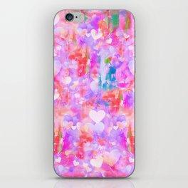 Pink Watecolor Hearts iPhone Skin