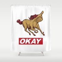 okay Shower Curtains featuring OKAY by Thomcat23