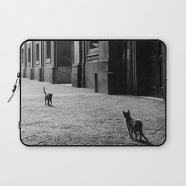 Two French Cats, Paris Left Bank black and white cityscape photograph / photography Laptop Sleeve
