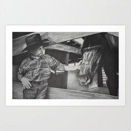 A boy and his horse Art Print