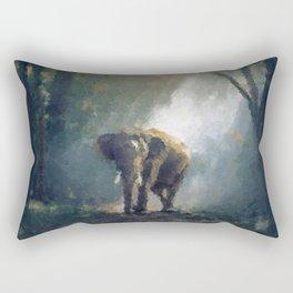 Elephant on patrol styled painting wall art poster, Big Wall Art, Wildlife, Popular Art, Home decor Rectangular Pillow