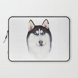 watercolor blue-eyed husky Laptop Sleeve
