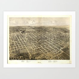 Vintage Pictorial Map of Bloomington IL (1867) Art Print