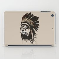 headdress iPad Cases featuring Lion Headdress by Alyn Spiller