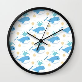 Whales Cute Pattern Wall Clock