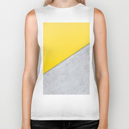Yellow & Gray Abstract Background Biker Tank