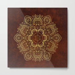 Gold Flower Mandala on Red Textured Background Metal Print
