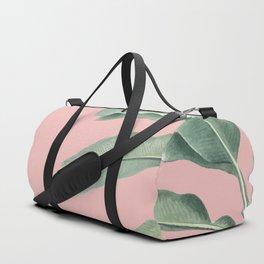 Green leaves on rose ink Duffle Bag