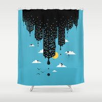 skyline Shower Curtains featuring Melting Skyline by Enkel Dika