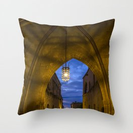 streets of the Knights  Rhodes Greece Throw Pillow