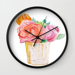 Peach Rose And Pink Tulip In Vase Watercolor Wall Clock