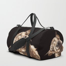 Sneaky Highland Cow in Black Duffle Bag