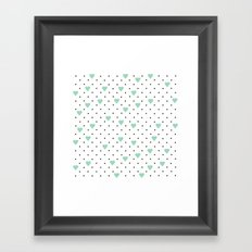 Pin Point Hearts Mint Framed Art Print