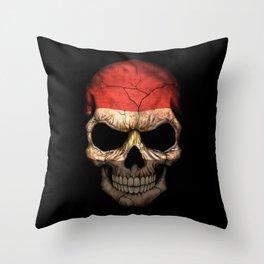 Dark Skull with Flag of Egypt Throw Pillow