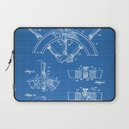 Ships Wheel Patent - Boat Wheel Art - Blueprint Laptop Sleeve