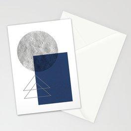 Navy grey geometric Stationery Cards