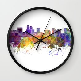 Newark skyline in watercolor background Wall Clock
