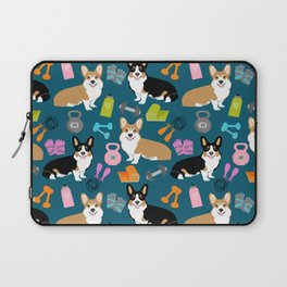 Corgi workout gym life yoga hiit corgis welsh corgi dog breed Laptop Sleeve