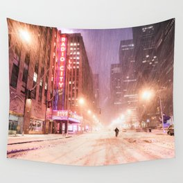 Snowstorm in New York City Wall Tapestry