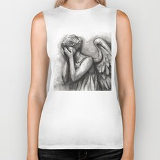Weeping Angel Watercolor Doctor Who Art Biker Tank