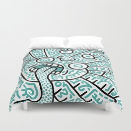 """""""The Face"""" - inspired by Keith Haring v. teal Duvet Cover"""