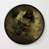 abigail larson Wall Clocks featuring Abigail blue eyes cat by AliceArtDotCom