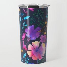 Fluro Floral Watercolour Flower Pattern Travel Mug