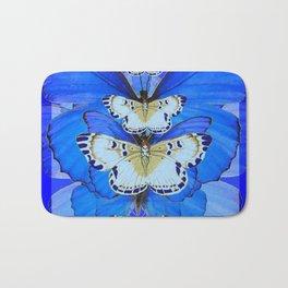 BLUE BUTTERFLIES ABSTRACT PATTERNS ART Bath Mat