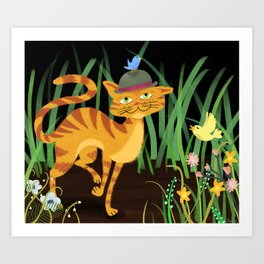 Mister Kitty And His Bird Friends Art Print