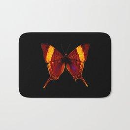 Butterfly - Vibrant Glow - Orange Brown Yellow Black Bath Mat