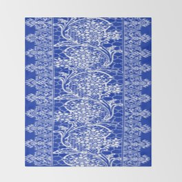 Vintage Lace Sapphire Blue Throw Blanket