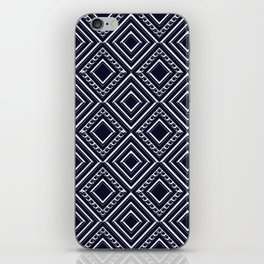 Diamonds and Dots in Chrome on Blue iPhone Skin