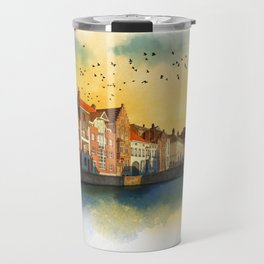 Landscape with beautiful medieval houses and canals. Bruges, Belgium. Travel Mug