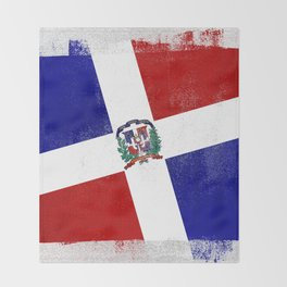 Dominican Republic Distressed Halftone Denim Flag Throw Blanket