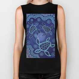 Aboriginal Art Authentic - Sea Turtles Biker Tank