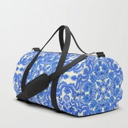 Cobalt Blue & China White Folk Art Pattern Duffle Bag