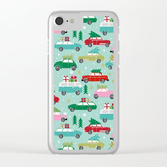 Vintage Christmas cars festive holiday traditions snow winter snowflakes classic car pattern Clear iPhone Case
