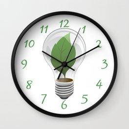 Eco Leaf Light Bulb Illustration Wall Clock