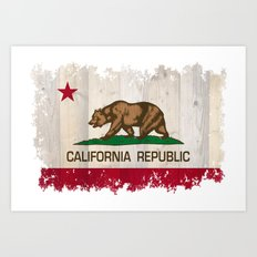 California Republic state Bear flag on wood Art Print