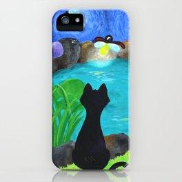 Black Cat & Fireflies iPhone Case