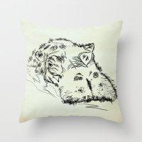 hippo Throw Pillows featuring Hippo by Julia Kisselmann
