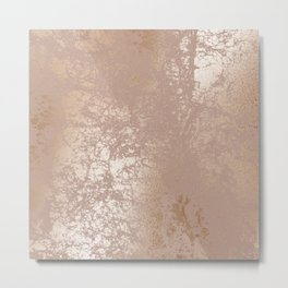Blush Pink Textured Design with Imploded Effect Metal Print