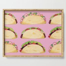 Quirky Taco Pattern in Pink by Elizabeth Caparaz Serving Tray