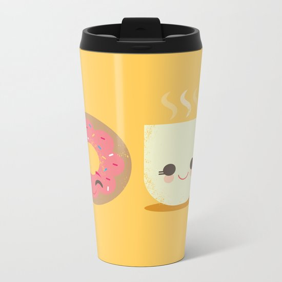 Coffee and Donut Buds Metal Travel Mug