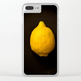 Yellow Lemon On A Black Background #decor #society6 Clear iPhone Case