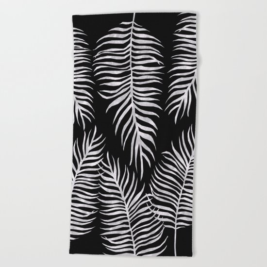 Fern Pattern Black And White Beach Towel