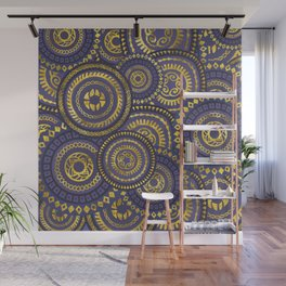 Circular Ethnic  pattern pastel gold and purple Wall Mural
