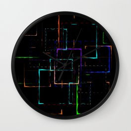 Abstract pattern of colored neon patterned green squares of different sizes Wall Clock