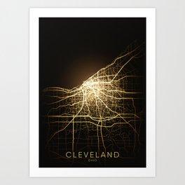 cleveland Ohio usa city night light map Art Print