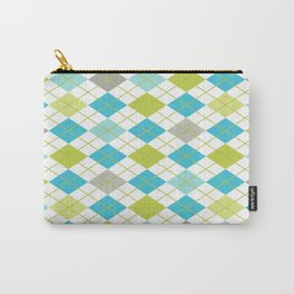 Retro 1980s Argyle Geometric Pattern in Modern Bright Colors Blue Green and Gray Carry-All Pouch